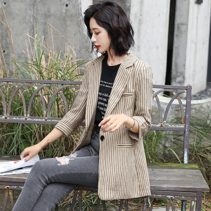 Women's Jacket 2019 New Autumn Casual Fashion Temperament Loose Wild Striped Single-breasted Small Suit Ladies Shirt