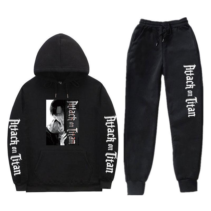 Moda streetwear hoodies define ataque em titan calças com capuz survetement homme jogging complet homme sweatpants masculino define