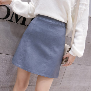 Image 1 - 2019 New Arrival Autumn Winter Sexy Lady Skirts Women Trend Solid PU Faux Leather Skirt Mini Female Invisible Zipper skin Skirts
