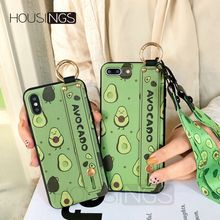 Strap Phone Holder Case For iPhone XR 7 8 Plus Fruit Avocado X Xs max 6 6s Neck Wrist Rope Fashion Cartoon