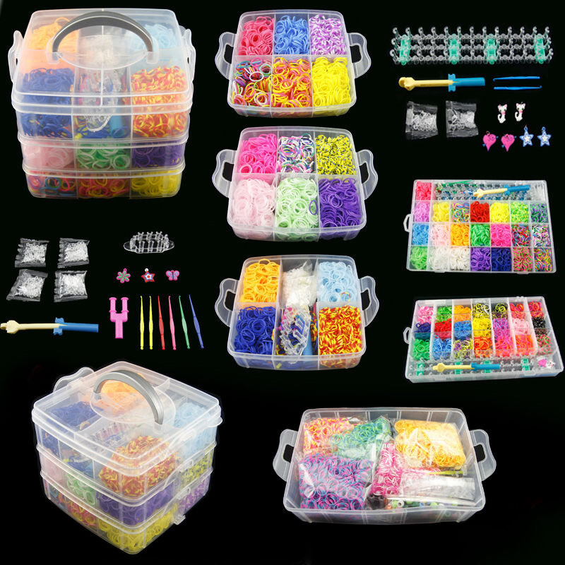 Rubber Loom Box DIY Bands Set Kid Bracelet Silicone Rubber Bands Elastic Rainbow Weave Loom Band Children Toy