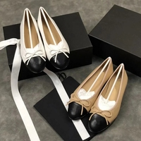 2021 New Parisian Fashion Designer Shoes Lady Ballet Shoes Round Head Light Tape Bow Leather CC Flat Shoes Plus Size 42 1
