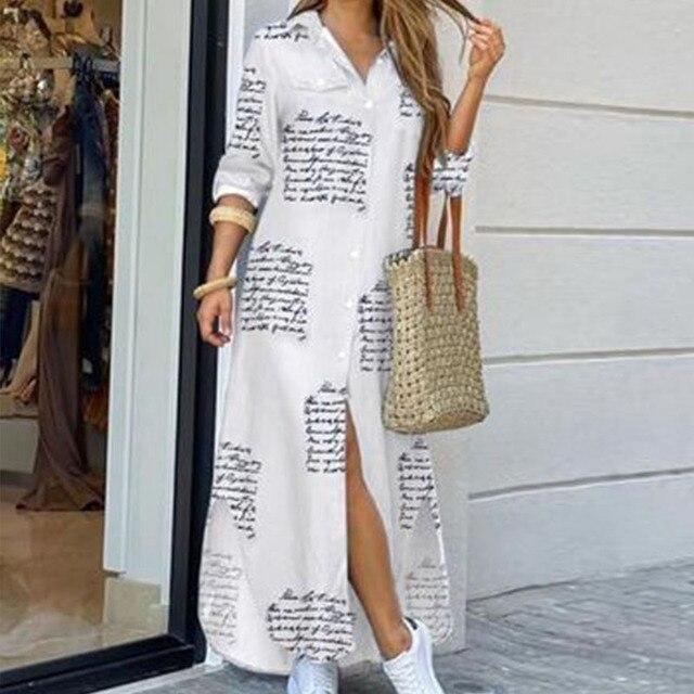 Модное женское платье-рубашка с длинным рукавом, осенние длинные платья с принтом OL, свободный сарафан с отложным воротником, вечерние платья 2