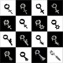 Black Stainless Steel Earrings For Men Women Trendy Cross Dangle Rock Punk Clip On Earrings Jewelry Without Piercing