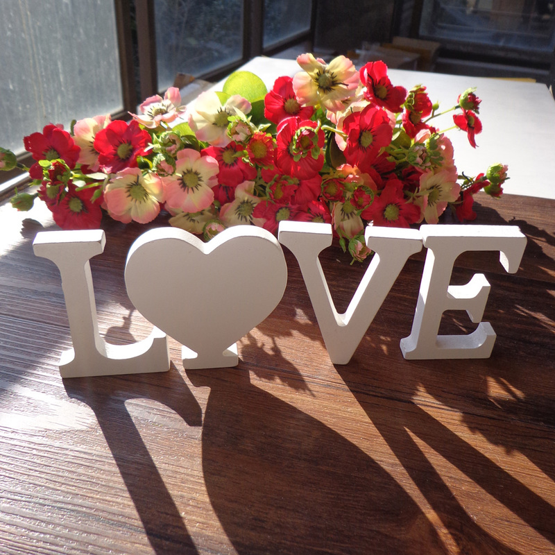 1 Set Wooden Wall Decoration, Love Sign, Wedding Family Party Decoration, Interior Sign, Painted White Wood Letters