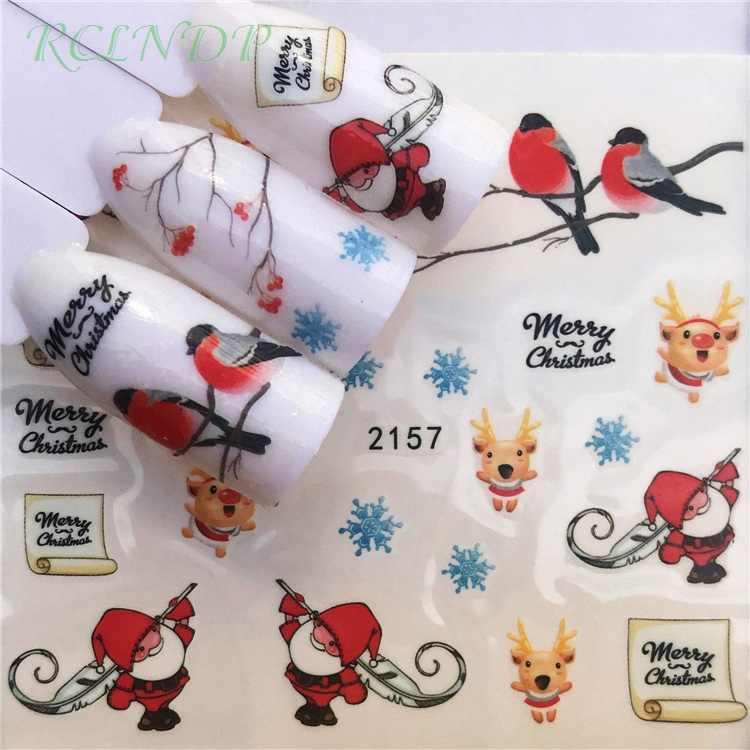 เล็บสติกเกอร์ศิลปะตกแต่งSlider Merry Christmas TreeหมวกกาวDecalsเล็บLacquerอุปกรณ์เสริมภาษาโปลิชคำฟอยล์