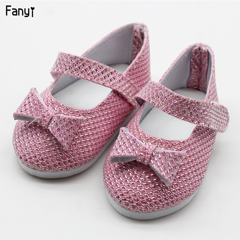 New Fashion Baby Sequins Doll Shoes 7cm Manual Shoes Lovely 43cm Dolls Baby New Born And 18 Inches American Doll
