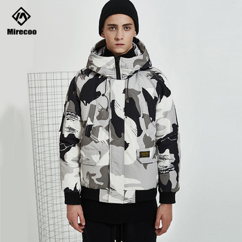 White Duck Down Jacket Men Padded Camouflage Parka Coats Men Hooded Streetwear Short Fashion Coat Outwear Windbreaker Winter