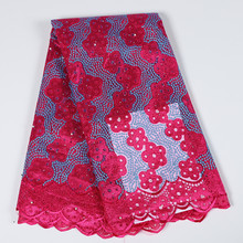 Latest Burgundy Blue Beaded African Lace Fabric High Quality Nigerian Wedding Lace French Tulle Net Lace Fabric For Party Dress(China)
