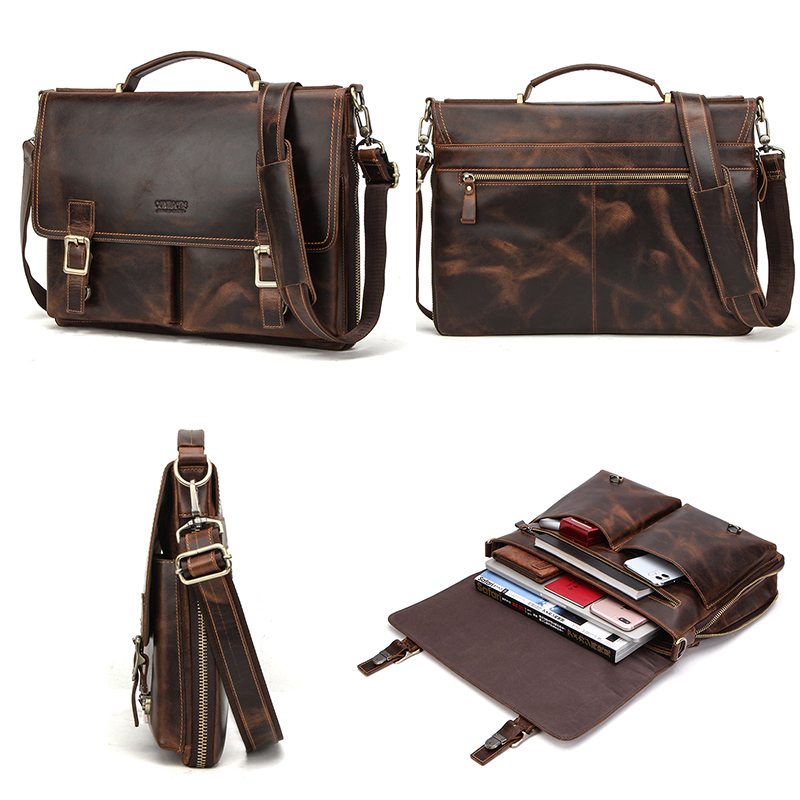 CONTACT'S Men Briefcase Bag Crazy Horse Leather Shoulder Messenger Bags Famous Brand Business Office Handbag for 14 inch Laptop 5