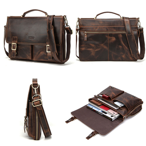 Image 5 - CONTACTS мужской портфель, сумка Crazy Horse, кожаная сумка через плечо, известный бренд, деловая офисная сумка для ноутбука 14 дюймов
