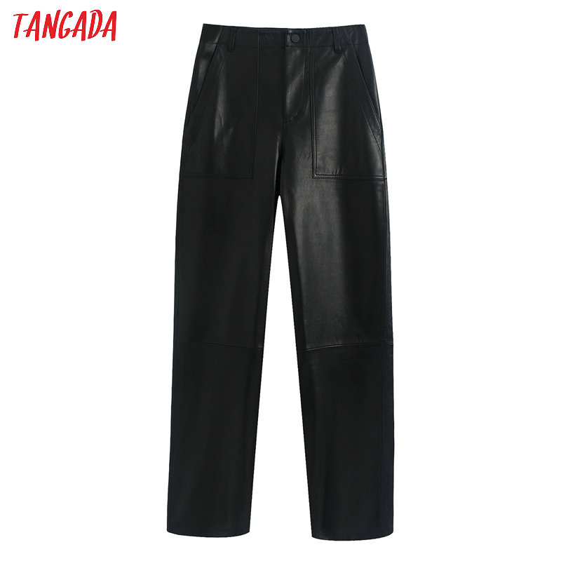 Tangada Women Black PU Leather Suit Pants Zipper Pocket Female 2020 Female Faux Leather Long Pants Trousers BE301