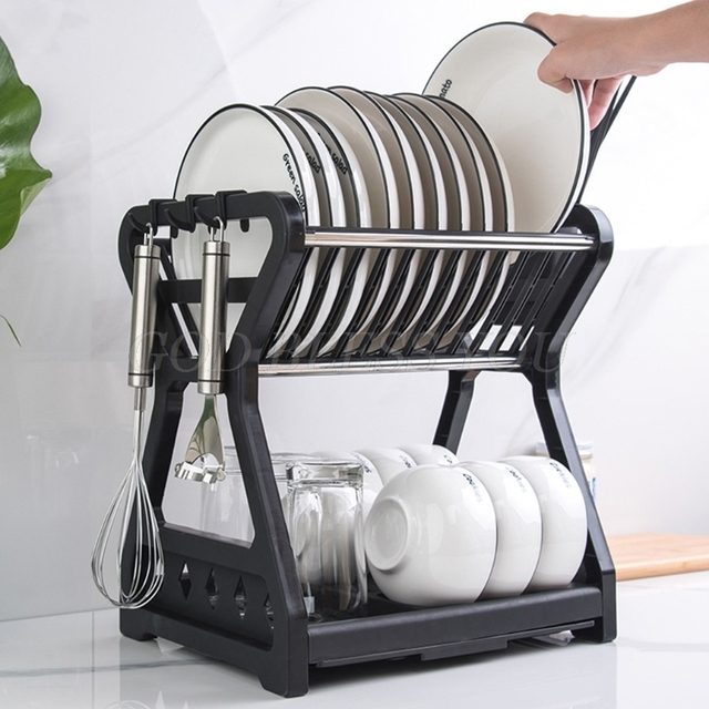 2021 New Double-layer Kitchen Dish Bowl Draining Storage Rack with Chopstick Cage Household Tableware Organizer Tray Box Basket