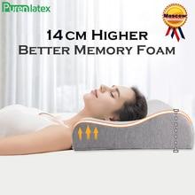 Purenlatex 14cm de alta memória espuma pescoço contorno ortopédico travesseiro recuperação lenta vértebra cervical apoio travesseiro lado volta sleeper