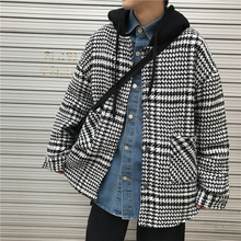 Autumn New Woolen Jacket Men Fashion Retro Casual Coat Streetwear Wild Loose Plaid Hooded Male Clothes M-2XL