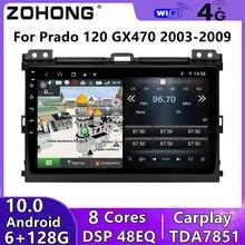 Dsp 4g 8 núcleos para toyota land cruiser prado 120 lc120 rádio do carro reprodutor multimídia bt autoradio gps navegação gx470 android dvd
