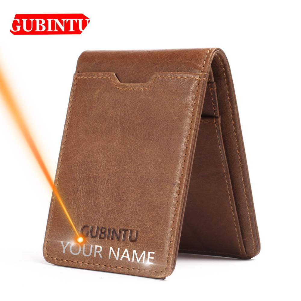 Gubintu Thin Genuine Leather Men Wallets Card Holder Multifunctional Slim Brand Men Purse Business High Quality Men Wallets