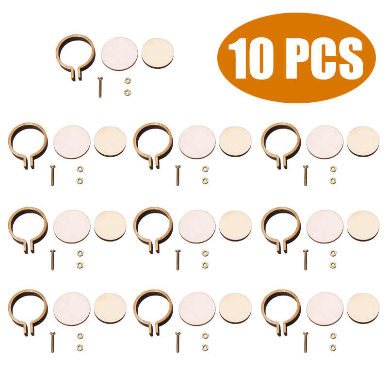 10 pcs/set New Arrival Mini Embroidery Hoop Ring Wooden Cross Stitch Frame For DIY Hand Crafts Needle Arts Fabric Painting