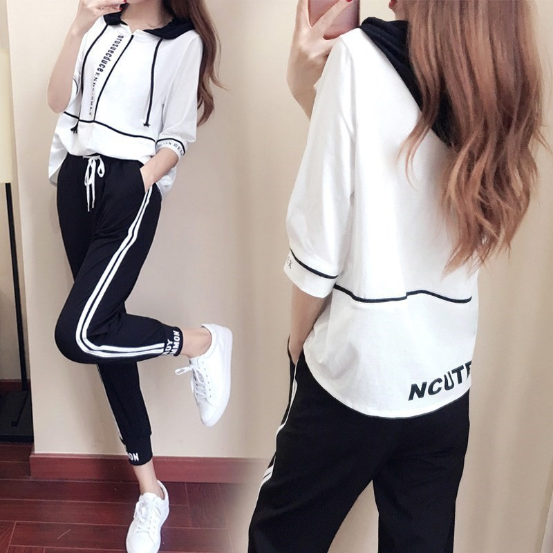 Casual WOMEN'S Suit Summer 2020 New Style Korean-style Fashion Loose Slimming Running Sports Clothing Students Two-Piece Set Fas