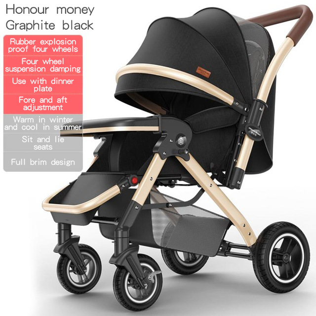 2020Baby stroller can sit reclining lightweight folding four-wheeled children high landscape trolley baby 0-3 years old
