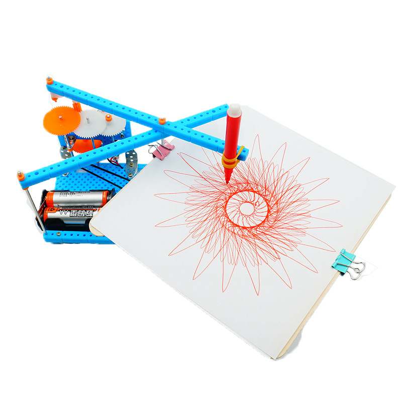 Creative DIY Kids Handmade Graffiti Toy Simple Science Gizmo Physics Experiment Resources Electric Plotter Great Gifts