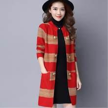 2020 nova primavera outono de malha cardigan feminino manga comprida retalhos botão camisola casaco feminino cardigan plus size 4xl a115