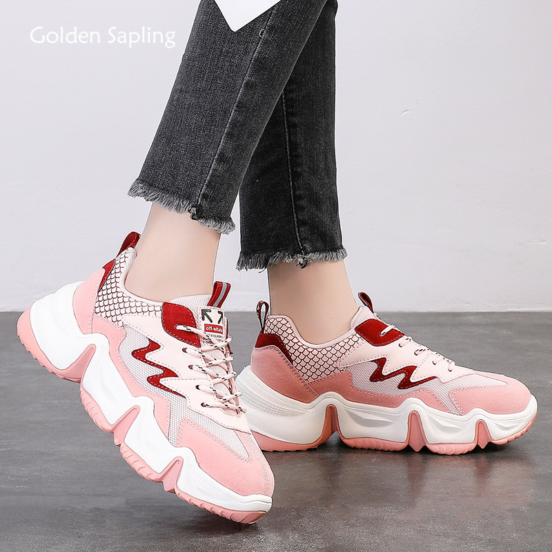 Golden Sapling Pink Women's Running Shoes Retro Platform Sneakers Women Breathable Air Mesh Trainers Fitness GYM Sports Sneaker