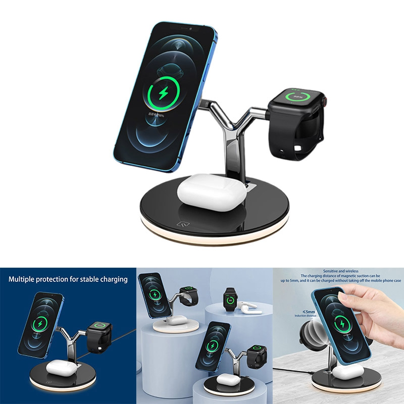 Wireless Charger, Type-C Interface 15W Three-In-One Wireless Charger for iPhone12 Mobile Phones, Samsung, Huawei