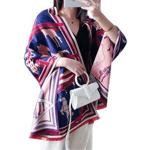 Image 5 - Kaszmirowy szalik zimowy kobiety ciepły gruby Pashmina modny nadruk szale końskie okłady pani miękkie Blanked szaliki chustka