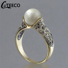 Cuteeco 2019 Hots Vintage Gold Color Punk Flower Big Simulated Pearl Retro Ring For Woman Party Jewelry Dropshipping