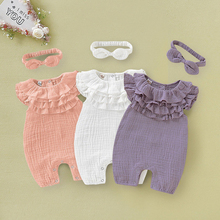 Newborn Baby Girl Clothes Summer Solid Sleeveless Ruffle Romper Jumpsuit One-Piece Outfit Sunsuit emmababy summer newborn baby girl clothes sleeveless striped bowknot strap romper jumpsuit one piece outfit sunsuit clothes