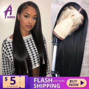 Alimice Straight Lace Front Wig 13x4 Peruvian Human Hair Wigs 150% Glueless Front Lace Wig For Women Pre Plucked Bleached Knots(China)