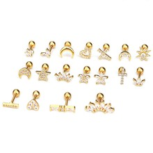 1 Pcs Gold And Silver Color Cz Cartilage Stud Moon Star Heart Cross Flower Crown Helix Piercing Tragus Stud Conch Earring(China)