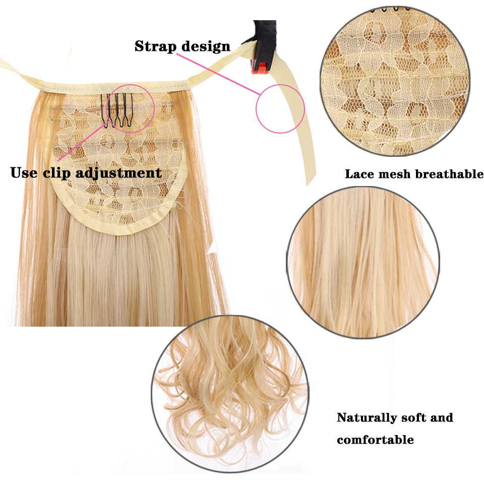 LUPU 18 ''longue sangle ondulée pince à cheveux en queue de cheval synthétique résistant à la chaleur queue de cheval perruque noir Blond brun femmes extension de cheveux
