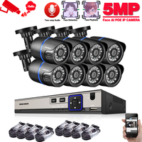 H.265 8CH NVR Face AI 5MP IP Network POE Audio Record Outdoor Waterproof CCTV Security Camera System Home video Surveillance kit