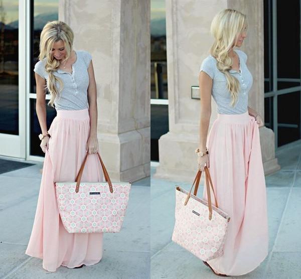 Stunning Pastel Pink Maxi Skirts For Women Chiffon Wedding Bridesmaid Feminine Spring Summer Long Skirts High Waist Girls Skirts