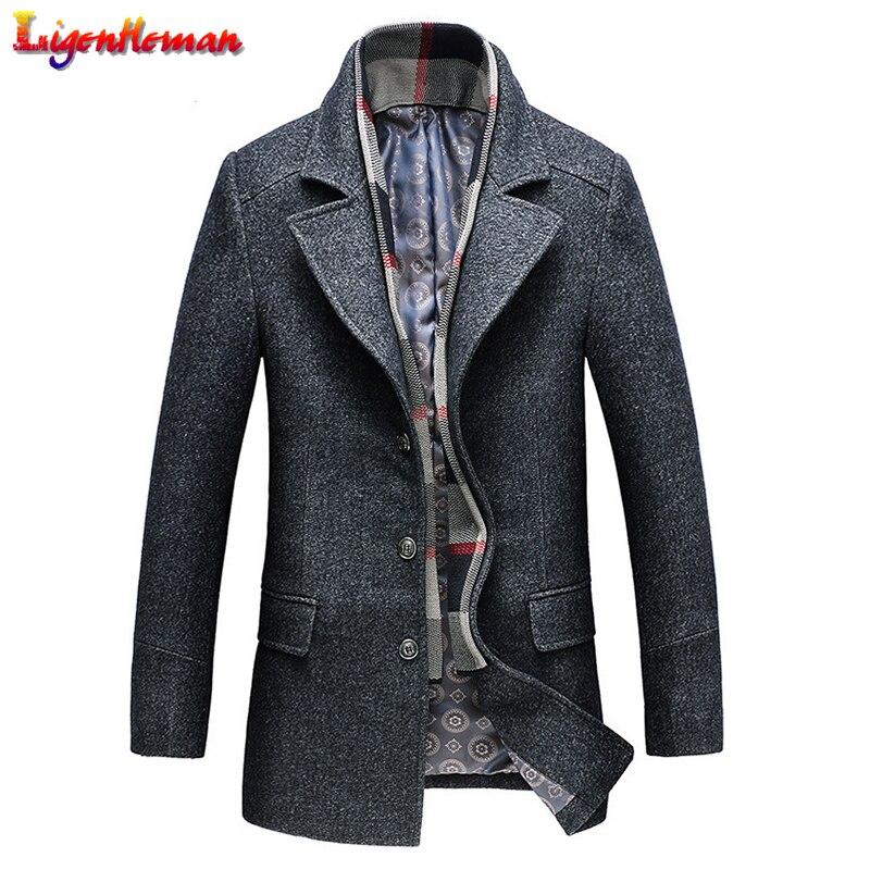 Men Fashion Winter Wool Coat Male Business Long Thicken Slim Overcoat Men's Turn-down Jacket woolen tweed windbreake