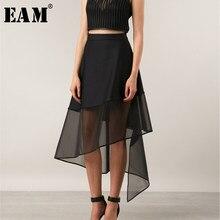 [EAM] Primavera Verano 2021 mujer temperamento elegante negro cintura alta rejilla unida Irregular perspectiva falda de medio cuerpo LE460
