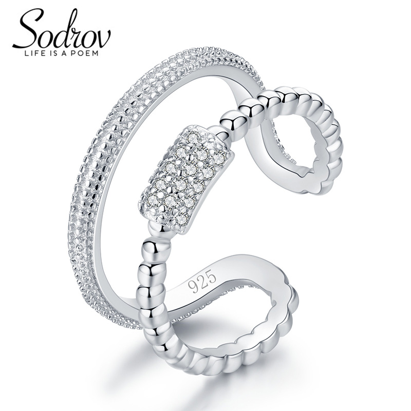 Sodrov 925 Sterling Silver Star Burst Ring Open Engagement Jewelry For Women HR037