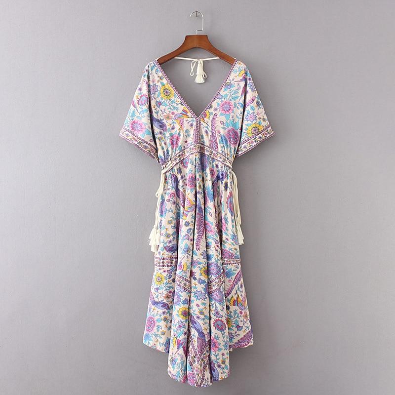 2017 Summer Fashion WOMEN'S Dress Flying Bird Digital Printing With Drawstring Big Hemline Beach One-piece Dress Long Skirts 811