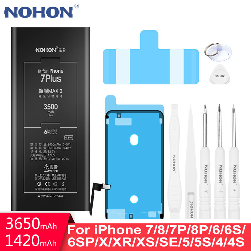 NOHON <font><b>Battery</b></font> For <font><b>iPhone</b></font> 7 8 6 <font><b>6S</b></font> Plus X XR XS SE 5S 5 4S 4 Replacement Original Bateria For iPhone7 Plus <font><b>iPhone</b></font> 8 <font><b>High</b></font> <font><b>Capacity</b></font> image