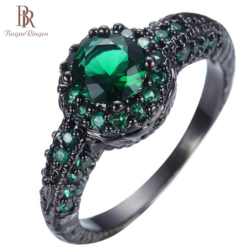 Bague Ringen Ring Women 925 Sterling Silver Created Round Emerald Engagement Ring Birthday Girl Friend Fine Gift Brand Jewelry