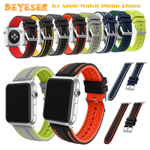 Sport Band for Apple Watch 38mm 42mm Soft Silicone Strap Replacement watch band Bands for iwatch Series 3/2/1 mix stripe color soft silicone sport band for apple watch series 2 replacement strap for apple iwatch two colors sport band joyozyluxury bands