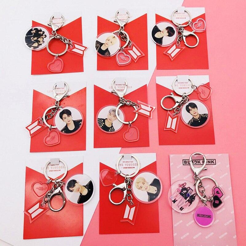 Bangtan Boys Acrylic Album Key Chains Fashion Creative Multiple Pendant Key Chain Kpop Key Charm Buckle Accessories Gift
