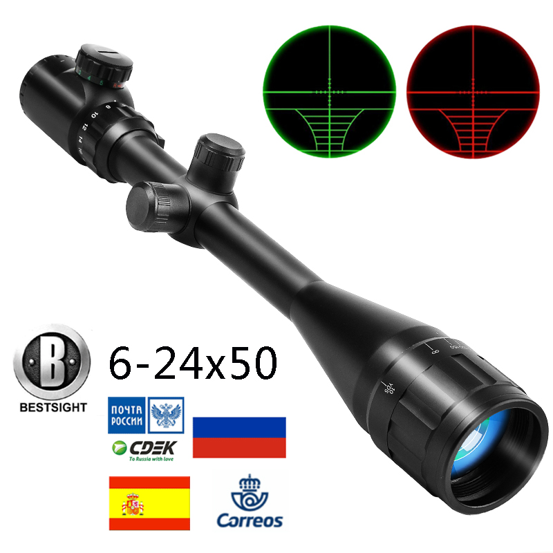 B BESTSIGHT  Tactical Riflescope  6-24X50 AOE  Red Green Illuminated Crosshair Rifle Scope  Optical Sight Hunting Scopes