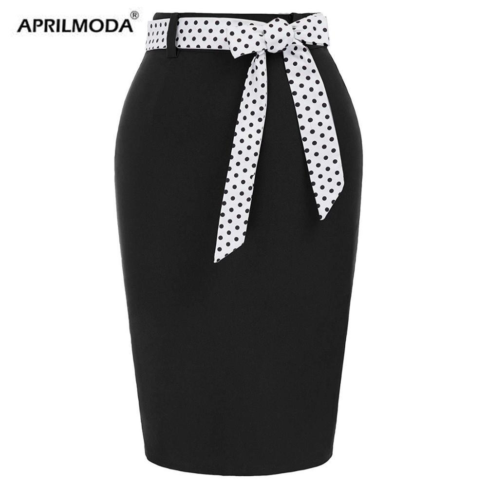 Polka Dot Printed Summer Pencil Skirt Women High Waist Patchhwork Bow Vintage 50s Elegant Casual Party Bodycon Midi Skirts