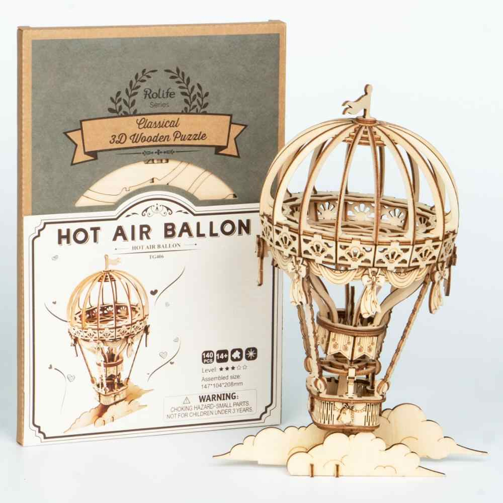 Robotime Tự Lắp Ráp Cơ Gear Mô Hình Gỗ DIY 3D Đồ Chơi Xếp Hình Không Khí Nóng Ballon TG406
