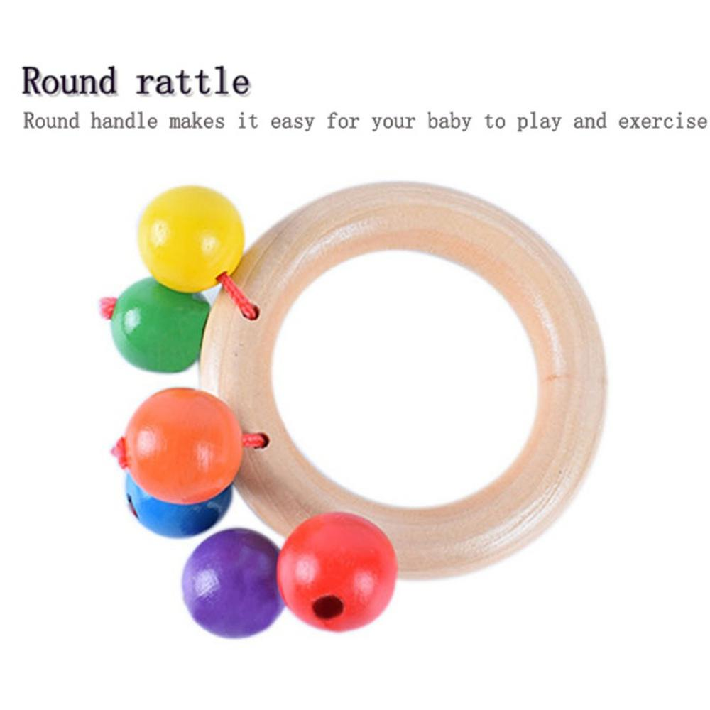 Wooden Bed Bell Orff Instrument Newborn Rattle Infant Early Education Music Learning Toys Manual Rattle 1PC
