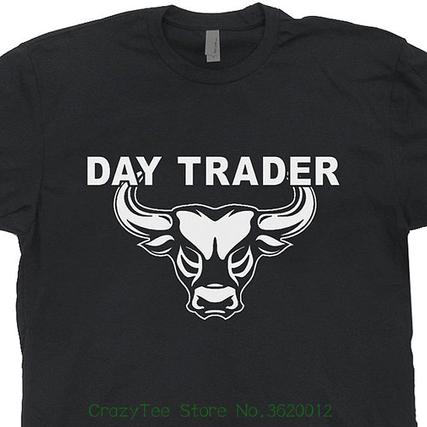 Style Short Sleeve Print Tee Shirt Day Trader T Shirt Wall Street Mad Stock Market Trading Cramer Money Tee Bull Bear Jim image