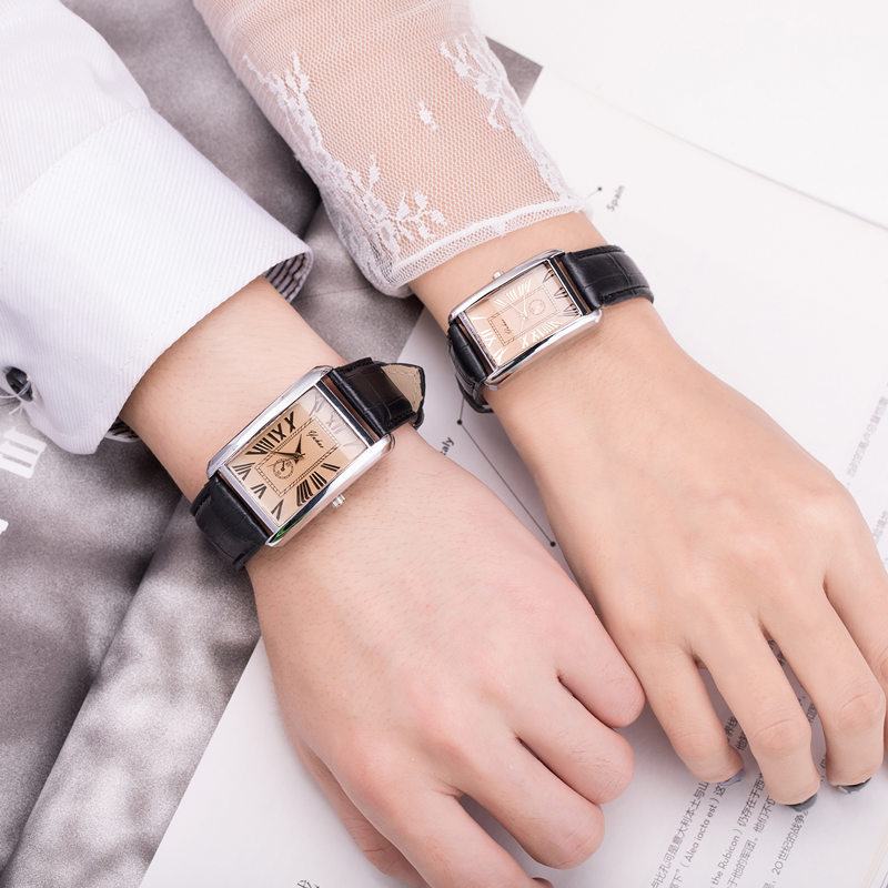 High Quality Elegant Couple Watch Korean Fashion Belt Square Plate Watch Men And Women Couple Watches